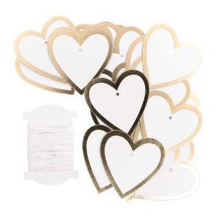 24 etichette appese cuore dorate
