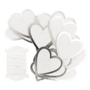 24 silberne hängende Etiketten Herz