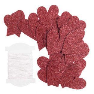 24 colgantes de corazón rojo S