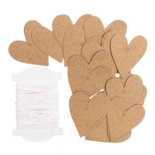 24 colgantes de corazón de papel kraft S