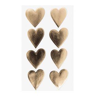 4 Blätter mit goldenen Herzaufklebern