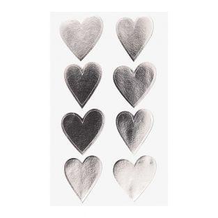 4 fogli di adesivi cuore d'argento