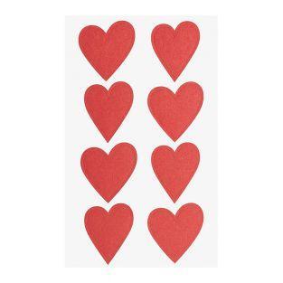4 hojas de pegatinas de corazones rojos