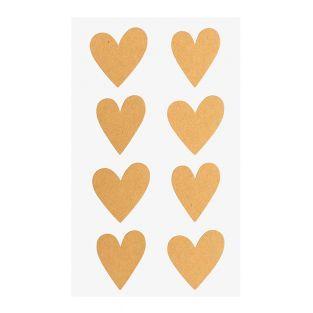 4 feuilles d'autocollants coeurs kraft