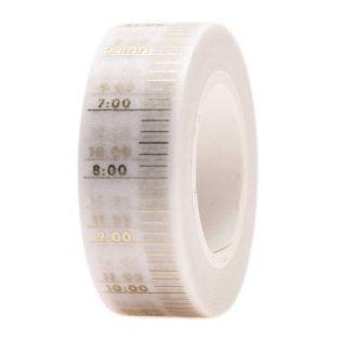 Masking tape Heures blanc & doré