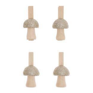 8 pinces clip en bois champignons dorés