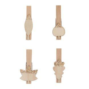 8 wooden clip clips with golden leaves