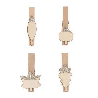 8 pinze a clip in legno foglie argento