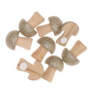 8 glitter mushroom wooden stickers