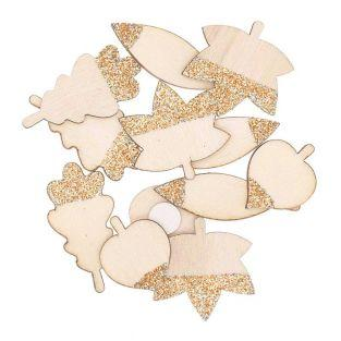 8 wooden stickers with golden glitter...