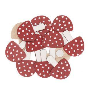 12 red and white mushroom wooden...