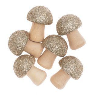 6 golden glittery wooden mushroom...