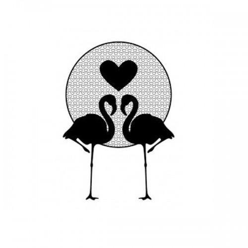 Wooden stamp - Flamingos