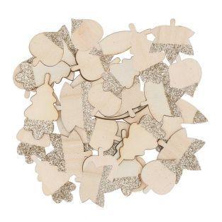 48 Holzsilhouetten mit goldenen...