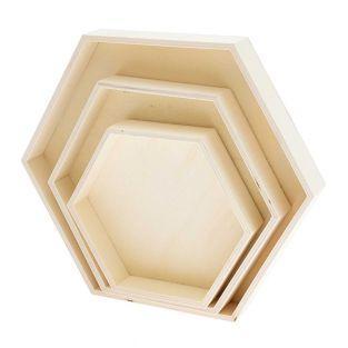 3 bandejas hexagonales de madera 100%...