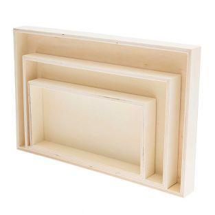 3 rechteckige Holzschalen 100% FSC