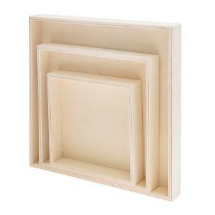 3 square wooden trays 100% FSC