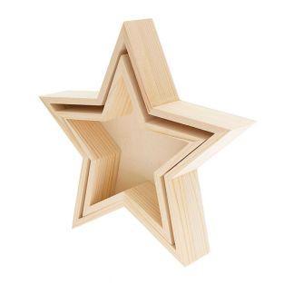 2 plateaux en bois étoile