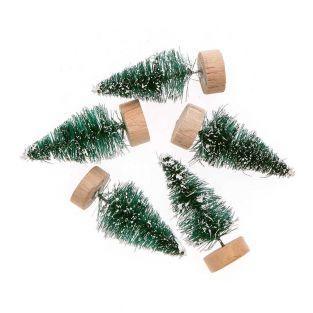 Lot de 5 sapins de Noël en bois vert...