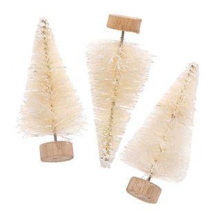 Lot de 3 sapins de Noël en bois blanc...