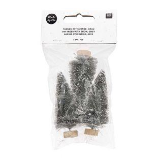 Set mit 3 grauen Weihnachtsbäumen 7cm