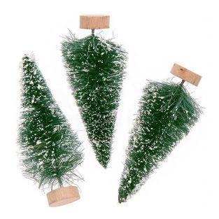 Set of 3 green trees 7cm