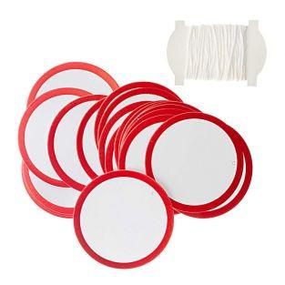 Red & white round hanging labels