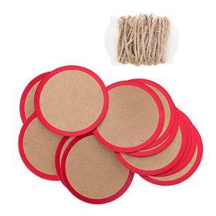24 weiße & rote Rundpapieranhänger