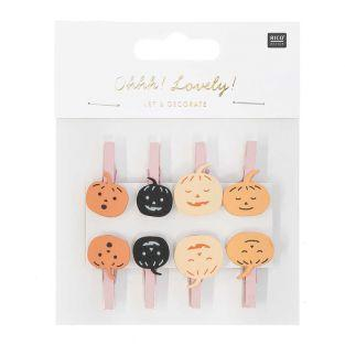8 wooden pumpkin clips