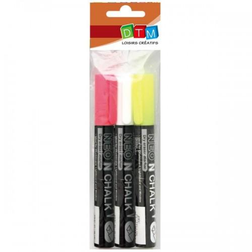 3 marcadores de tiza liquida 6 mm - blanco-amarillo-rosa