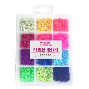 Caja de cuentas Heishi - 12 colores fluo
