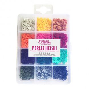 Box of Heishi beads - 12 bright colors