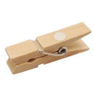 8 mini Pinzas de madera magnéticas 3,5 cm - Azul