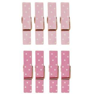 8 mini magnetic clothespins 3.5 cm - pink