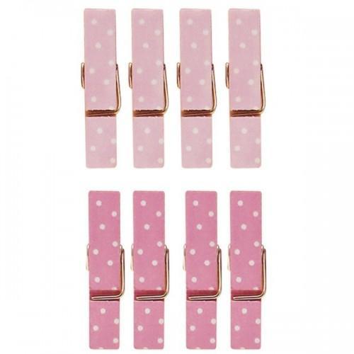 8 mini pinces à linge aimantées rose 3,5 cm