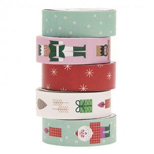 5 masking tapes navideñas FSC