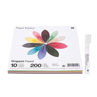 200 feuilles pour origami Pastel +...