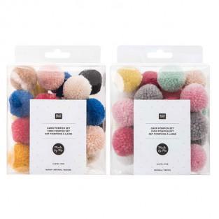 48 pompon di lana naturale e color...