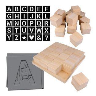 Alfabeto fai da te - 32 cubi di legno...