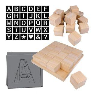 Alphabet DIY wooden cubes x 32