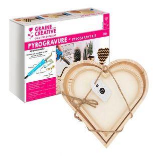 Pyrography box + 2 heart wood trays...