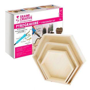 Pyrography box + 3 hexagonal wooden...
