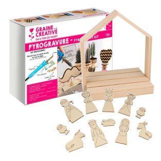 Caja de pirograbado + cuna de madera...