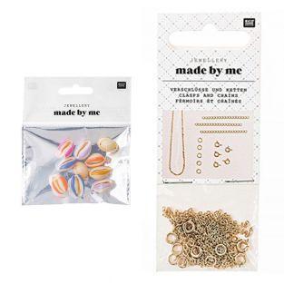 10 Perlen - Mehrfarbige Muscheln +...