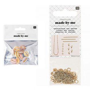 10 Perlen - Pastellmuscheln + Satz...