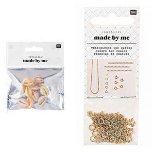 10 Perlen - Pastell-Muscheln + Satz...