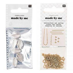 6 Perlen - Muscheln Silber + Satz...