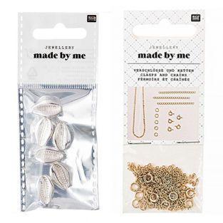6 Perline - Conchiglie d'argento +...