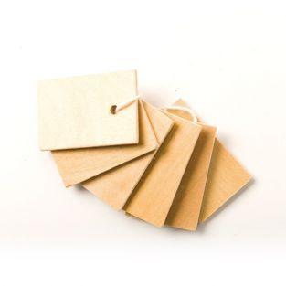 6 etiquetas de madera 4,5 x 3 cm