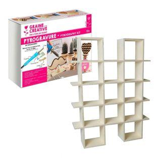 Brennkolben + 4-stöckiges Holzwandregal